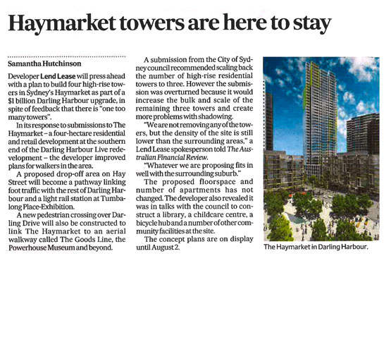 Haymarket towers are here to stay